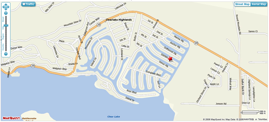 Map & Directions - Clearlake Keys House in Lake County, CA Clear Lake Map on